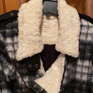 Free People-Plaid Sherpa Fur Coat Jacket-S-Black
